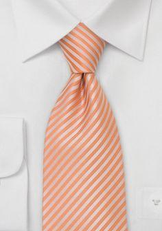 Mikrofaser Krawatte orange mit hellen Streifen