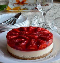 tartas pasteles dulces y salados by mpop: Tarta de mascarpone con gelatina de fresas
