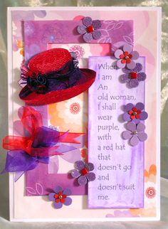 219. 'Red hat' birthday card. #handmade #Redhat