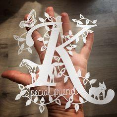 Initial Handmade Papercut unframed by LouiseBellArt on Etsy