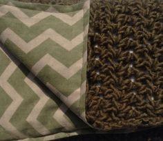 Crochet Blanket lined with Flannel Baby Crochet by QuinnsBin, $33.00