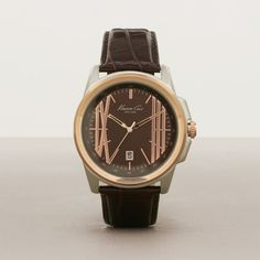 TWO-TONE ROSE GOLDTONE AND SILVERTONE STRAP WATCH, NO COLOR