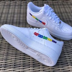 Custom made to order Nike Air Force Available in all sizes. Com Heart Detaili… Custom made to order Nike Air Force Available in all sizes. Com heart detailing. Please allow 2 weeks before shipment. Custom Painted Shoes, Custom Shoes, Nike Custom, Custom Af1, Nike Shoes Air Force, New Yorker Mode, Aesthetic Shoes, Shoes Sneakers, Shoes Heels