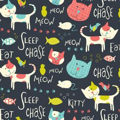 Here Kitty Kitty fabric by heatherdutton on Spoonflower - custom fabric