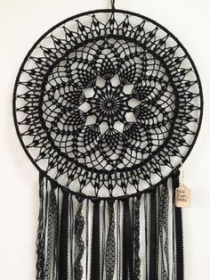 Black Magic BOHO Dreamcatcher ~ Crochet Doily, Lace, Feathers by CleanSl8