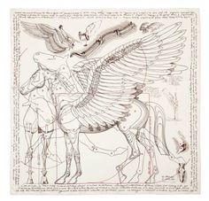 Hermes scarf Pegasus, inspired by Leonardo Da Vinci's sketches