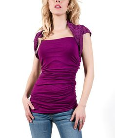 Another great find on #zulily! Purple Mintaka Lace Cap-Sleeve Top #zulilyfinds