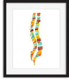 Abstract Spine Watercolor Print Spine Art Medical by LyonRoad