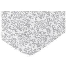 Sweet Jojo Designs Skylar Fitted Crib Sheet - Damask Print