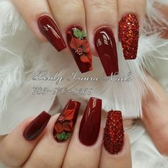 In order to provide some inspirations for nails red colors for your long nails in this winter, we have specially collected more than 80 images of red nails art designs. Xmas Nails, Holiday Nails, Christmas Nails, Fall Nails, Long Nail Art, Red Nail Art, Wine Nails, Cute Acrylic Nails, Flower Nails