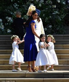 The so-called 'Pippa moment' happened as Jessica - who wore Christian Louboutin heels - ascended the steps guiding the young bridesmaids who walked beside her