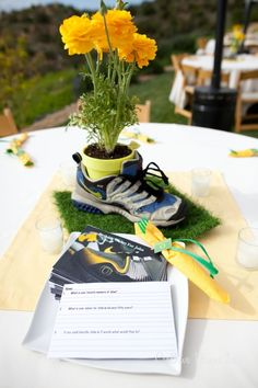Shoe centerpiece-  E of E Stand in Holy Places. Camp Centerpieces?  NB? YWIE?