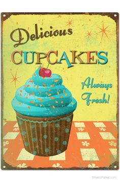 A cupcake on a retro tin sign! I want to recreate this for my kitchen.
