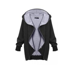 Hooded Large Size Thin Casual Jackets Outerwear ($17) ❤ liked on Polyvore featuring outerwear, coats, newchic, black, black coat, print coat, hooded coats, black hooded coat and thin coat