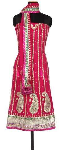 Buy Online from the link below. We ship worldwide (Free Shipping over US$100) http://www.kalkifashion.com/pink-unstitched-suit-enhanced-in-gotta-patti-embroidery-only-on-kalki.html