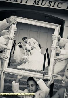 Taken through a frame with bridesmaids or ring bearers/flower girls holding it.
