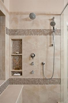 shower niche ideas Bathroom Contemporary with bench in shower chorme  #RemodelingGuide