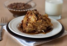 "Old fashioned bread pudding made with a wonderful cinnamon burst bread, ""baked"" in the pressure cooker and served with a rich caramel pecan sauce."