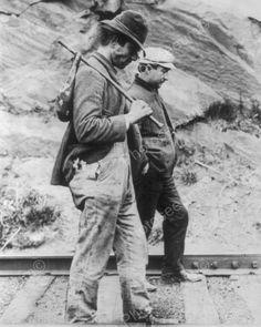 Two Hobos Walk Along Railroad Tracks 8x10 Reprint Of Old Photo