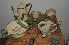 Vintage Coffee Pots For Sale   and Used Vintage Green Cream Enamelware Greenware 13 pc Lot Coffee Pot ...
