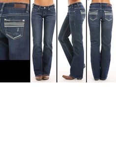 093735c0 Rock & Roll Cowgirl® Juniors' Leather Trimmed Pockets Boot Cut Riding Jeans