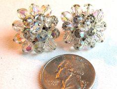 Vintage 6mm Swarovski AB Crystal Beaded Clip On Earrings in Silver Tone Metal by SaraJewelryDesign on Etsy