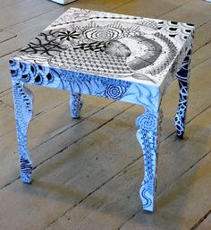 Zentangle Table by   Nancy Banker and Wendy Chambers Brown