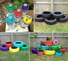 Como hacer una jardinera con gomas de carros.