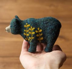 READY TO SHIP!   A lovely needle felted bear in rich blue-green with a goldenrod yellow botanical motif on her left shoulder.   This adorned bear