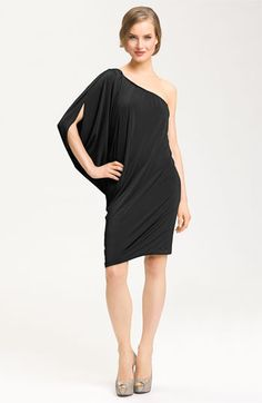 Maggy London one shoulder black dress