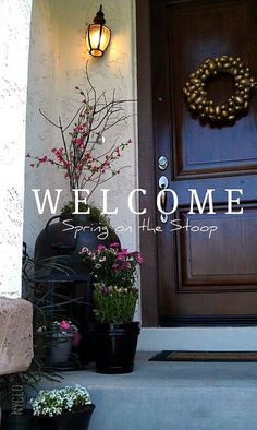 Welcome Spring on the Stoop - Happy Spring! - nyclq #HomeGoods #HappyByDesign