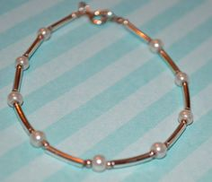 """Vintage Sterling Silver and Pearl Bracelet 7"""" Long  #Chain"""