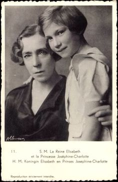 Queen Elisabeth of Belgium with her granddaughter, Princess Josephine-Charlotte of Belgium, later Grand Duchess of Luxembourg.