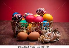 Stock Photo - Basket With Easter Eggs - stock image, images, royalty free photo, stock photos, stock photograph, stock photographs, picture, pictures, graphic, graphics