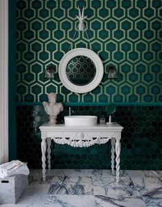 Shades of green ornate bath. modern vessel sink & faucet. Green hex tile. Marble. David Hicks inspired wallpaper.