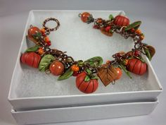 Fall Pumpkin Bracelet  Charm Bracelet  Orange  by Barbarasartistry, $45.00