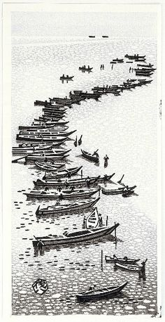 Artist: Okuyama Gihachiro Title:Sail Boats and Rocky Shore Date:Ca. Details & Prices: Okuyama Gihachiro: Sail Boats and Rocky Shore - Artelino Source: artelino - Japanese Prints Browse all prints. Japanese Art Modern, Japanese Prints, Korean Art, Asian Art, Ligne D Horizon, Boat Painting, Japanese Painting, Woodblock Print, Chinese Art