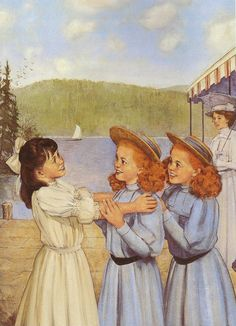 """American Girl Samantha Parkington greets her cousins/aunties, Agnes and Agatha in her book """"Samantha Saves The Day""""."""