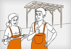 Heimwerkerin und Heimwerker stehen vor einer Dachkonstruktion aus Holz.