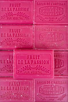 Fruit De La Passion; soaps can be the best decor in bathrooms. Especially if you love pink.