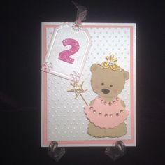 """Happy Birthday princess, teddy bear card, old , Go Kreate Boo Bear (UK die). Marianne die Label LR """"Crown"""" from Spellbinders Parisian Accents Happy Birthday Princess, Birthday Kids, Bear Card, Special People, Big Shot, Kids Cards, Teenagers, Making Ideas, Handmade Cards"""