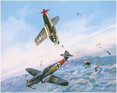 Clash of Eagles by Roy Grinnell  Lt. Joe Bennett of the 4th Fighter Group finds his P-51B disintegrating as he is rammed by Lt. Hubert Heckm...