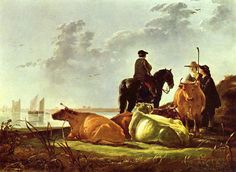 Aelbert Cuyp - Peasants and Cattle by the River Merwede, National Gallery, London.