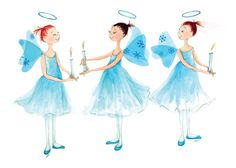 THE NUTCRACKER - Angels - Poster (Printed) 18 (wide) x 12 (high) 3  Ballerina Angels in Blue & White Holding Candles - TheArtfulBumblebee  via Etsy.