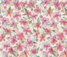 Pink Painted Blossoms fabric by micklyn on Spoonflower - custom fabric