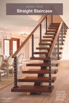 A straight stair stringer is a specific type of metal mono-stringer that rises without changing direction. It supports the treads, posts, and handrail on your floating stair system––as well as the design. The straight stair is perfect for open-conc Steel Railing, Metal Stairs, Modern Stairs, Painted Stairs, Patio Interior, Interior Stairs, Home Stairs Design, Modern House Design, The Loft