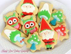 Christmas Cookies Santa Gnome Owl Enchanted Forrest Royal Icing Decorated Sugar Cokies