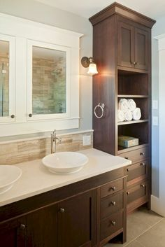 Minimalist Bathroom Cabinets Ideas For You. Bathroom storage cabinets are great for keeping your accessories organized and clean all year round. Modern Bathroom Cabinets, Narrow Bathroom, Upstairs Bathrooms, Bathroom Renos, Bathroom Ideas, Shared Bathroom, Simple Bathroom, Bathroom Colors, Built In Bathroom Storage