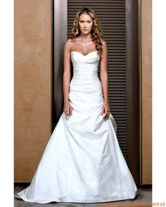 Moderne preiswerte Brautkleider aus Satin A-Linie Herzausschnitt