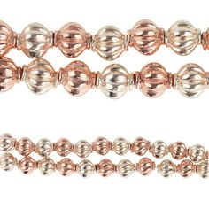 Bead Gallery Shiny Lantern Metal Beads, Gold & Rose Gold